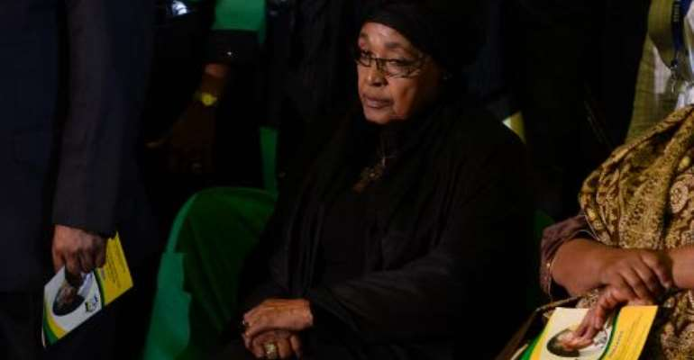 The ex-wife of Nelson Mandela, Winnie Madikizela-Mandela, attends a Farewell Service for the former South African president on December 14, 2013 at the Waterkloof air force base in Pretoria, South Africa.  By Stephane de Sakutin (AFP/File)