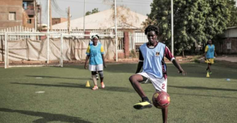 Women trained in Khartoum in August in readiness for the kick off of the women's league.  By Jean Marc MOJON (AFP/File)