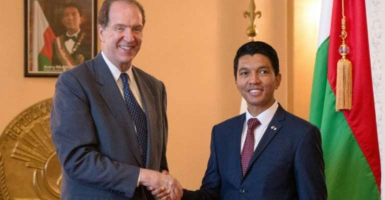 World Bank President David Malpass met with Madagascar's President Andry Rajoelina on his first trip after taking his post.  By Mamyrael (AFP/File)