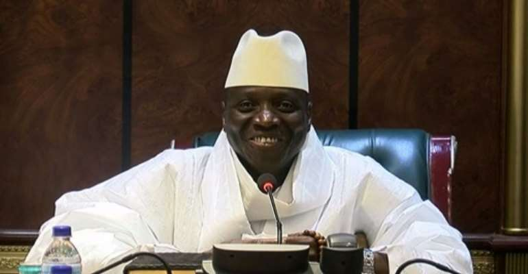 Yahya Jammeh, pictured in the twilight of his reign, shortly after the December 2016 elections.  By Handout (GRTS - Gambia Radio and Television Services/AFP)