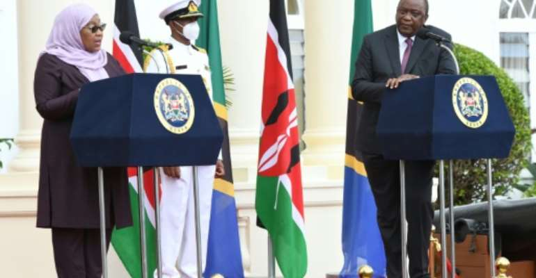 'Your visit has given us the opportunity to renew our relations,' Kenyatta told Hassan.  By Simon MAINA (AFP)