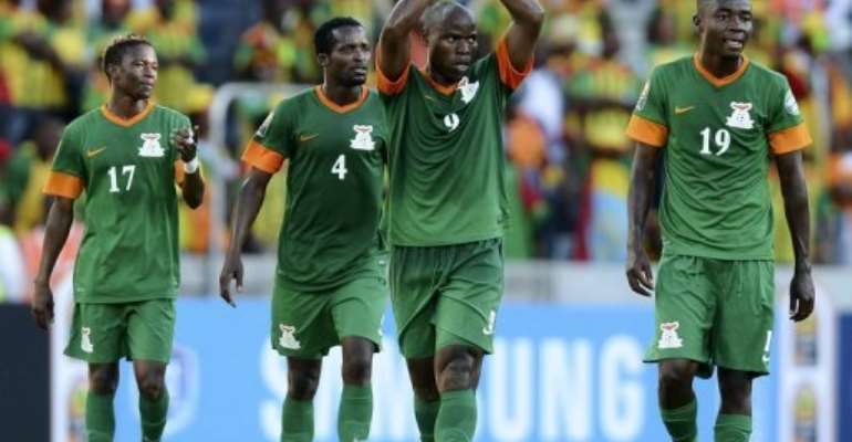 Zambia's Collins Mbesum (2nd R) celebrates after scoring a goal against Ethiopia on January 21, 2013 at the Africa Cup.  By Francisco Leong (AFP/File)