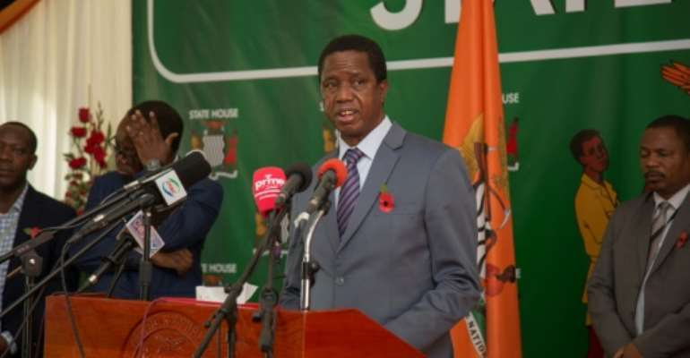 Zambian President Edgar Lungu (pictured during a November 2019 press briefing)  made the appeal in a telephone call with his Chinese counterpart Xi Jinping.  By SALIM DAWOOD (AFP/File)