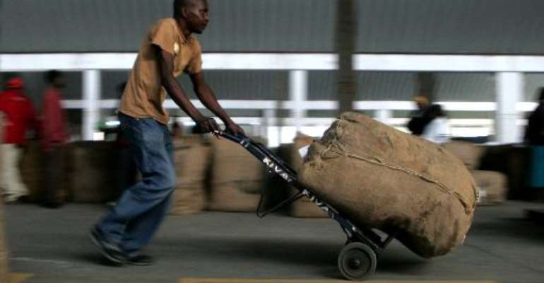 A worker receives and loads bales of tobacco on the opening day of the selling season in Harare, on February 13, 2013.  By Jekesai Njikizana (AFP/File)