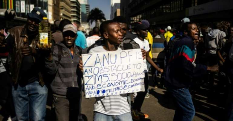 Zimbabweans have been protesting over the ailing economy.  By Zinyange Auntony (AFP)