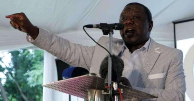 Zimbabwe's Prime Minister Morgan Tsvangirai addresses a meeting in Harare on February 13, 2013.  By Jekesai Njikizana (AFP/File)