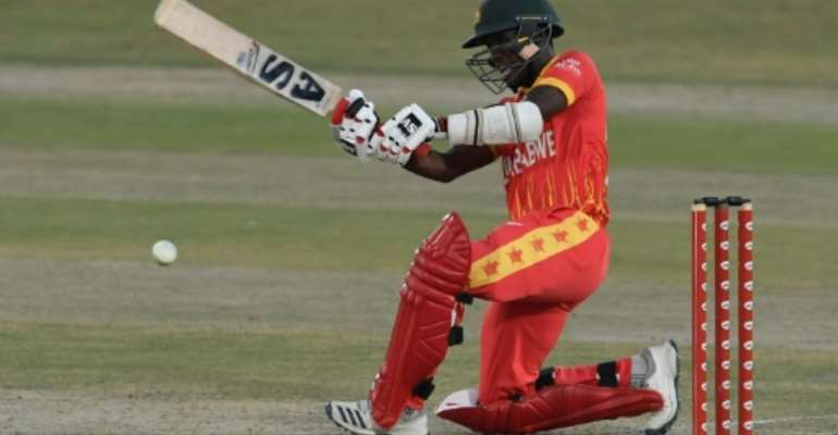 Zimbabwe's Wesley Madhevere plays a shot on his way to 70 not out off 48 balls against Pakistan the first Twenty20 match between at Rawalpindi Cricket Stadium.  By Aamir QURESHI (AFP)