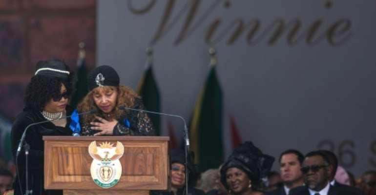 Zindzi Mandela, left, and her sister Zenani Mandela-Dlamini, at the funeral of their mother, Winnie Madikizela-Mandela in April 2018.  By Wikus DE WET (AFP)