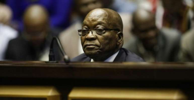 Zuma dismissed the corruption charges as a conspiracy.  By MICHELE SPATARI (POOL/AFP)