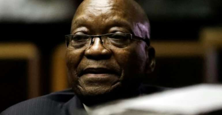 Zuma is accused of overseeing mass looting of state funds during his nine-year reign before he was ousted in 2018 by the ruling ANC party and replaced by Cyril Ramaphosa.  By Themba Hadebe (POOL/AFP)