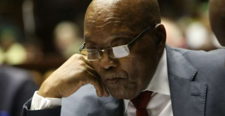 Zuma was forced to resign by the ruling ANC party last year.  By Jackie CLAUSEN (POOL/AFP)
