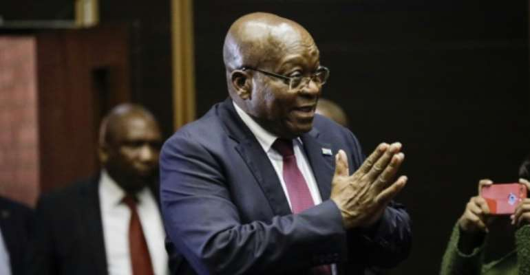 Zuma was forced to step down last year by the ruling African National Congress (ANC) party after a nine-year reign marked by corruption allegations anddwindling popularity.  By MICHELE SPATARI (POOL/AFP)