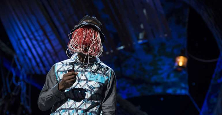Why the wire mask? Because Anas Aremeyaw Anas' undercover investigations have brought many people to justice, and he could be in danger if his identity were known. Photo: James Duncan Davidson