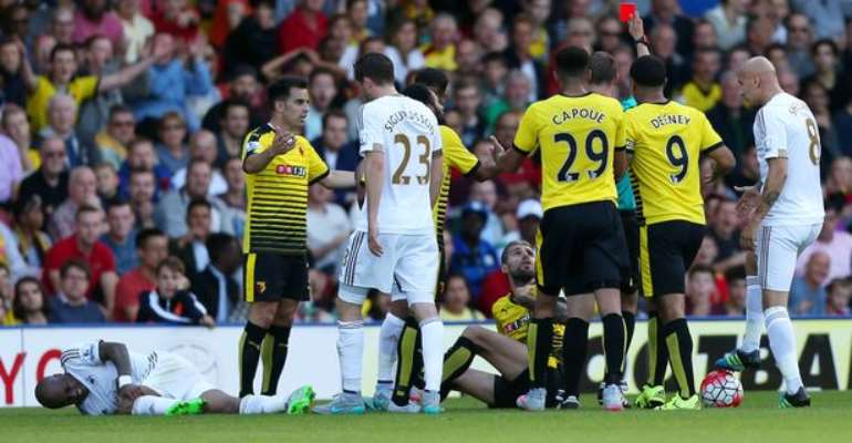 Watford midfielder Valon Behrami admits he deserved to be sent off for his horror stamp on Andre Ayew