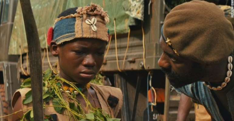 Idris Elba's giant stature scared Abraham Attah during the shooting of the movie Beasts of No Nation, the latter tells The New York Times in an interview.