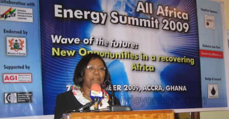 Mrs Betty Mould Iddrisu, Attorney-General and Minister of Justice, addressing the summit on Tuesday.