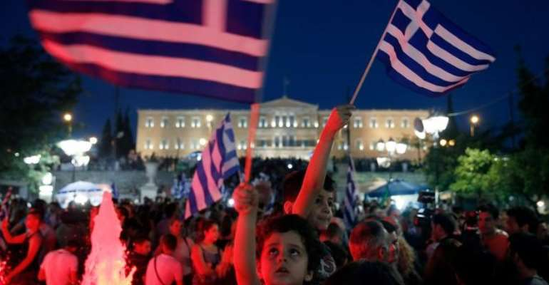 Crowds gathered to celebrate in Athens as results began to come through