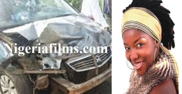 Movie Star, Biola Eyin Oka, Crashes Honda Car On Badagry Expressway [Picture]