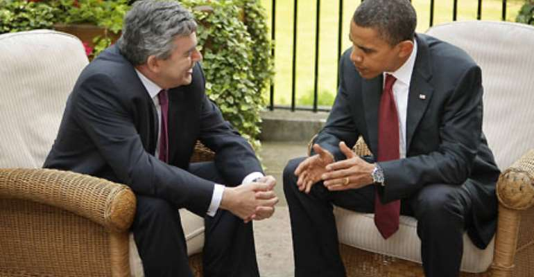 Gordon Brown and Barack Obama during their meeting at Downing Street Photo: GETTY