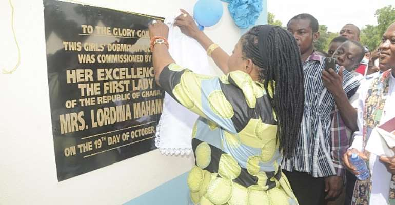 First Lady inaugurates girls' dormitory for GHANASCO