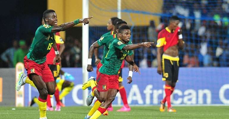 Cameroon celebrating