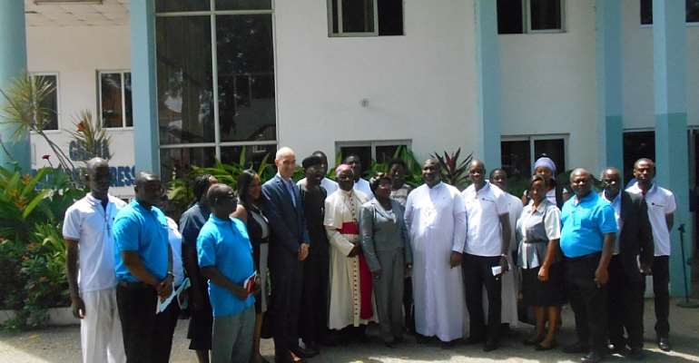 Bishop Mante with dignitaries at the launch.
