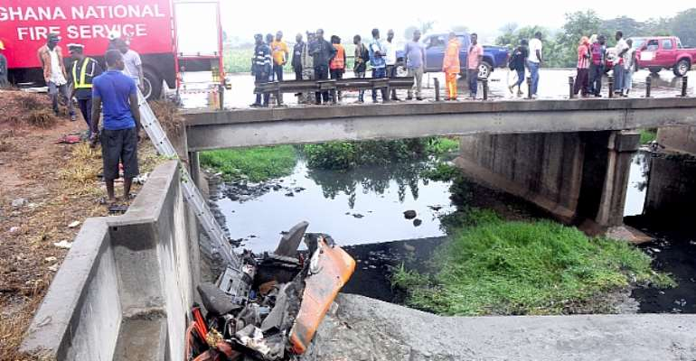 Two die as cement trailer plunges into ditch