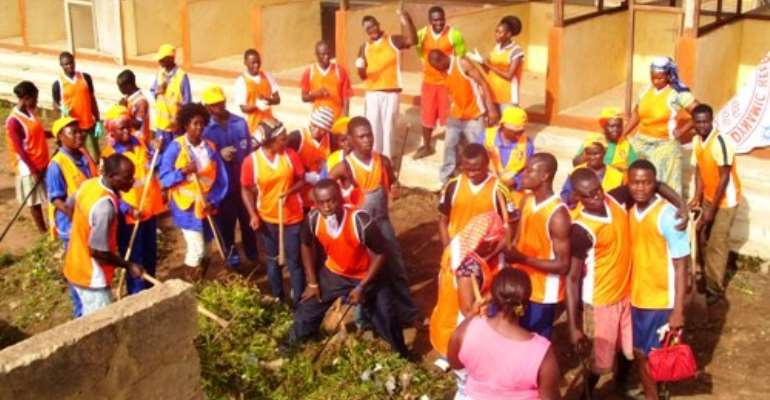 Dynamic Keep-Fit Club cleans Ofankor market to mark May Day