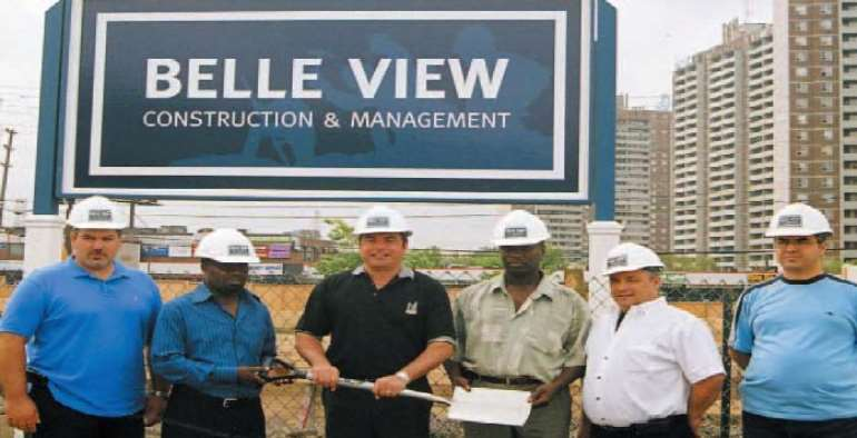 Bell View Construction crew with President Owusu Atwima and Mr. Larry Boateng with councillor Mamoliti