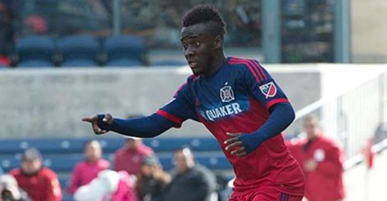 David Accam was sent off in USA