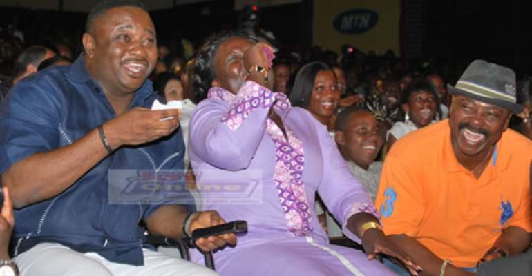 Deputy Local Government Minister, Elvis Afriyie Ankrah, his wife and others having a good laugh.