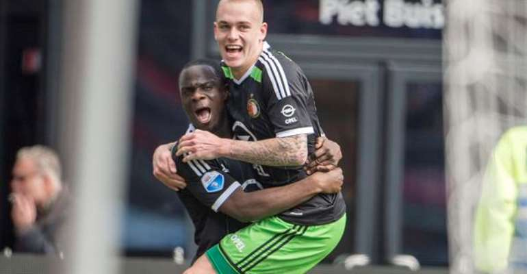 Elvis Manu, celebrating his goal with Feyenoord team-mate Jordy Clasie, netted a brace for Feyenoord