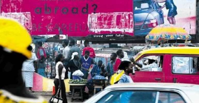 A billboard in Benin City, Nigeria, warns against the dangers of human trafficking.  Photo HH