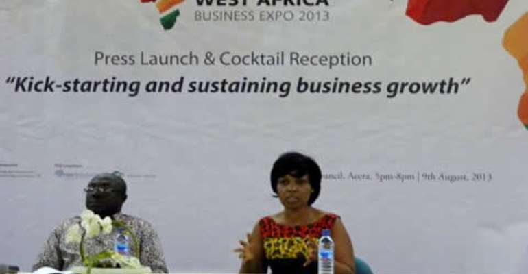 Nana Akrasi Sarpong (left) and Harriet Adabla speaking at the launch of the Expo