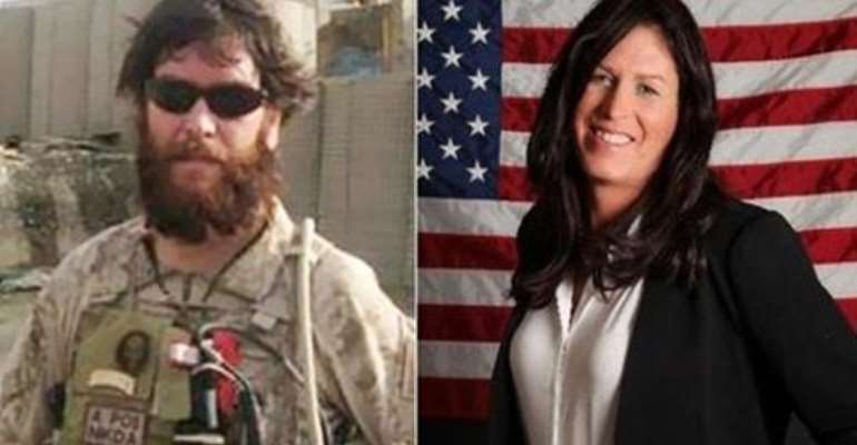 Photo of former Seal Team Six member Chris Beck before, left, and after becoming a woman.