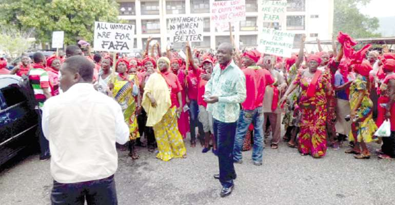 Women groups demonstrate, call for renomination of Mrs Adinyira