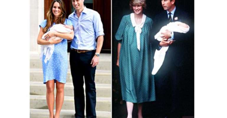 Middleton's dress featured a similar polka-dot pattern to the one Princess Diana wore in 1982 while introducing Prince William with husband Prince Charles.