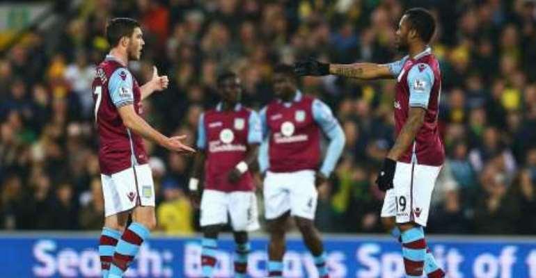 Rock bottom: Jordan and Aston Villa slump to defeat at Norwich