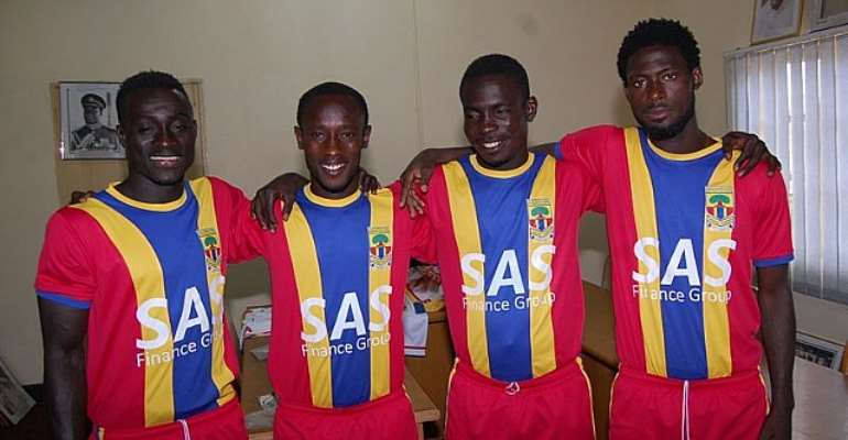 Hearts of Oak players in the new kits for the 2013/2014 season.