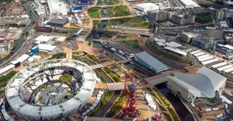 Aerial view of the Olympic Park in East London Credit: Dominic Lipinski/PA Wire