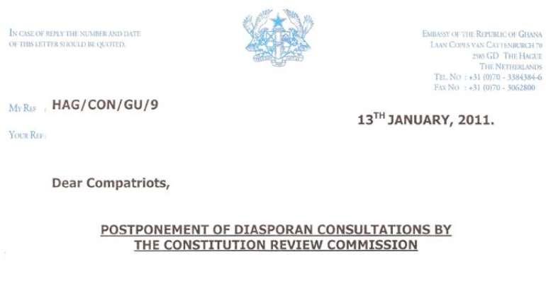 Constitution Review Commission Postponed Diaspora Consultations
