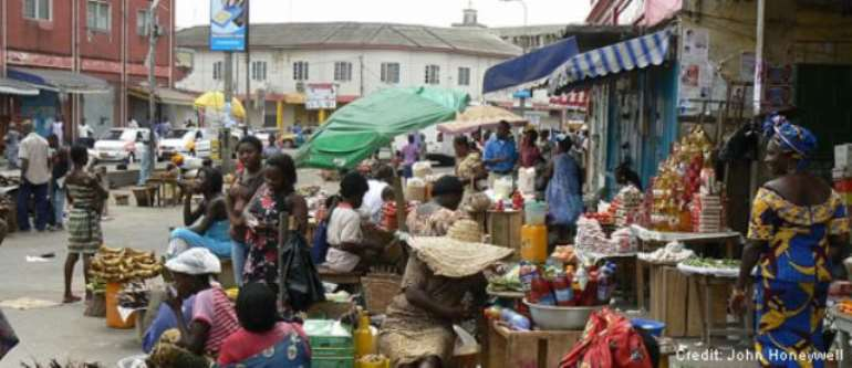 A community market in Takoridi in the Western Region.