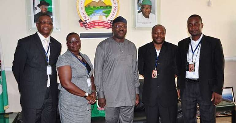 L-R- Dr. Gbassey Tarawali (IITA); Mrs. Toyin Oke (IITA); Governor of Ekiti State, Dr. Kayode Fayemi; Director General, IITA, Dr. Nteranya Sanginga; and Mr. Godwin Atser (IITA), during a courtesy visit