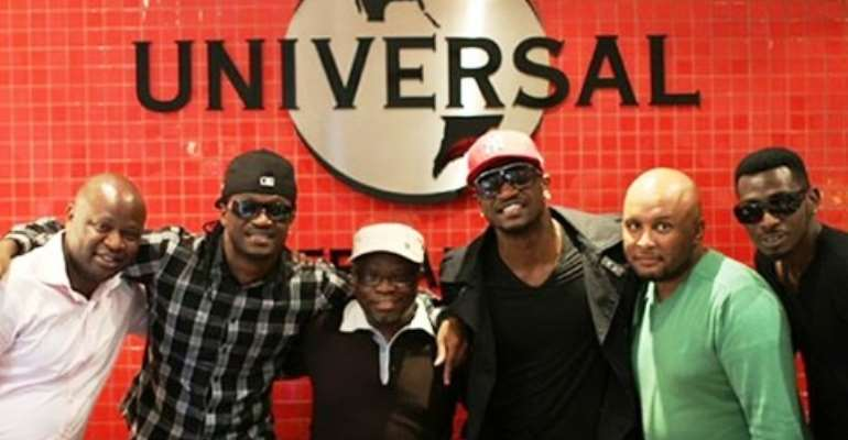 P Square with some officials of Universal Music