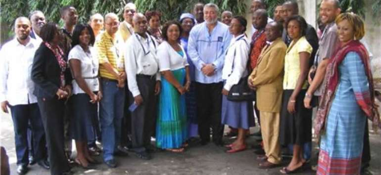 Ex-President J.J. Rawlings with members of the British Council's Strategic African Leadership programme at his residence in Accra.