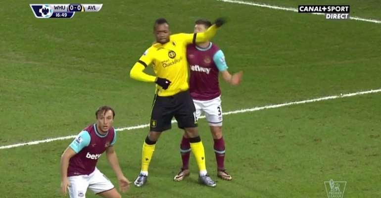 Jordan Ayew was caught using his elbow to attack an opponent