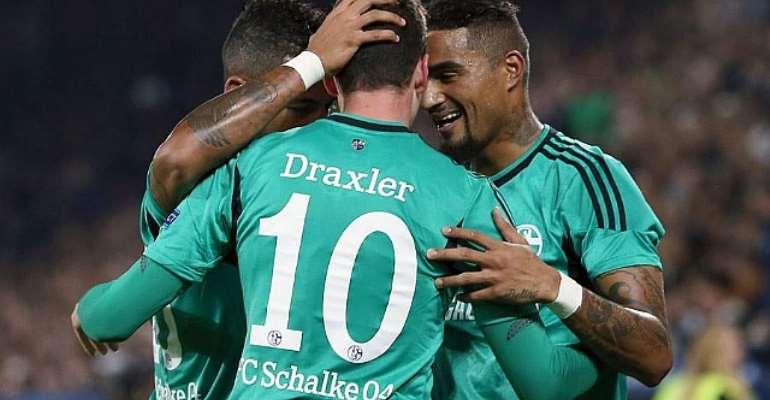 Kevin-Prince Boateng with Julian Draxler, helped Schalke to beat Hertha Berlin