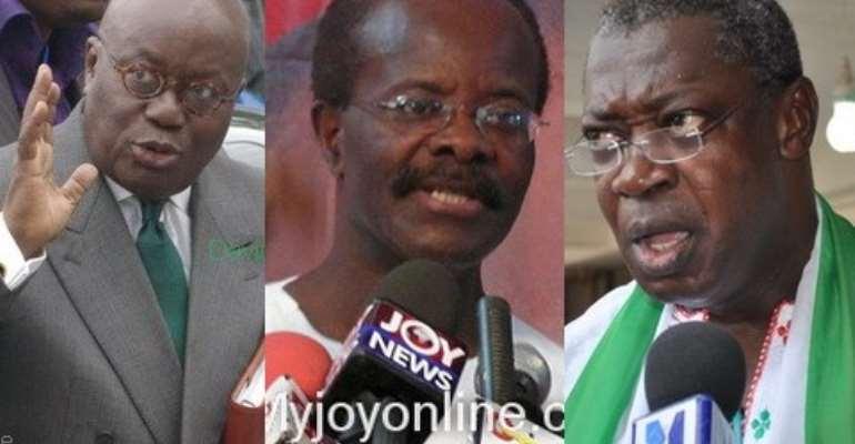 Nana Akufo-Addo (left), Dr. Papa Kwesi Nduom (middle) and Prof Agyemang Badu Akosa (right).