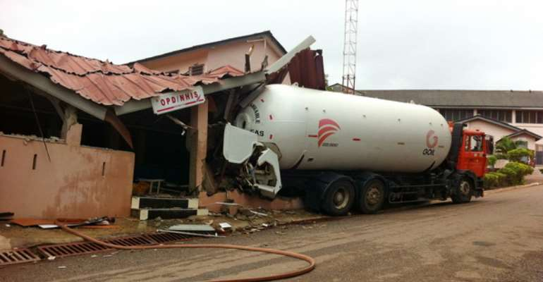 Tragedy averted as gas-filled tanker hits hospital