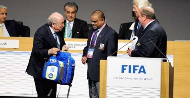 FIFA President Joseph Sepp Blatter demonstrating the MEMB at the ceremony.